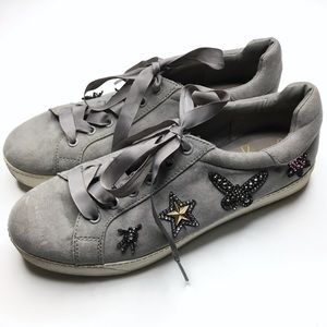 Libby Edelman | Embellished Gray Sneakers